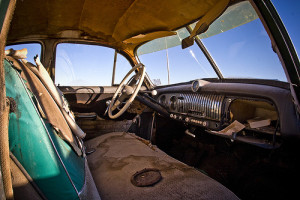 old pickup interior
