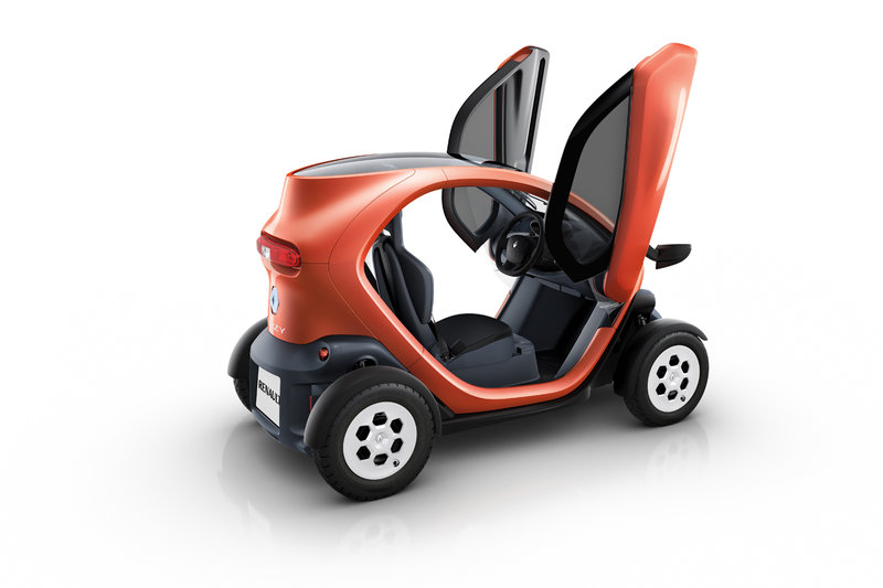 Aesthetically renault twizy stands out by a rounded body protruding